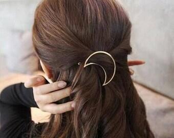 hair clip moon - barrette moon