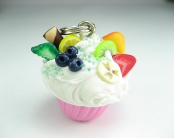 Fruit Cupcake Necklace, cupcake jewelry, food jewelry, food necklace, gift for her, food gifts, fruit necklace, strawberry, unique gifts