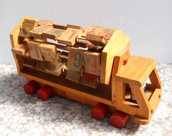 Toy Truck Alphabet Blocks Vintage