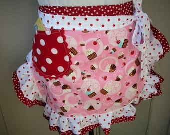 Apron Half Aprons - Cupcake Pink Aprons - My Pink Cupcake Party - Handmade Cupcake Waist Apron - Annies Attic Aprons - AnniesAttic Aprons