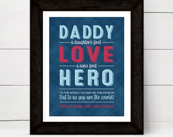 fathers day from son, daughter, kids, fathers day gift ideas, daddy hero print or canvas, a daughters first love, fathers day gift from kids