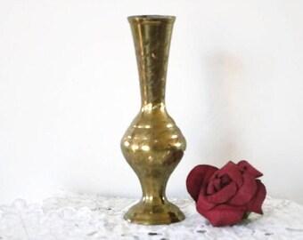 Vintage hand etched brass vase signed India, Long stem flower vase, home and living, vintage home decor, engraved brass, floral vase