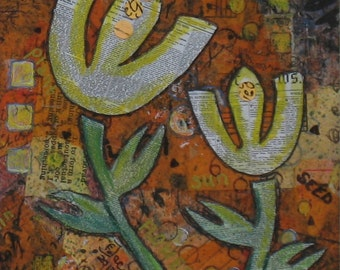 Orange Tulips -  Collage- New Growth - with Newspaper, Circles, Words, Textures in Yellow, White, Black, Green and Orange