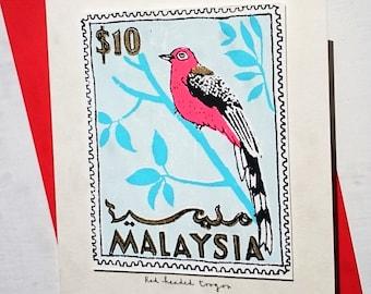 Red Headed Toraco/Malaysia stamp card