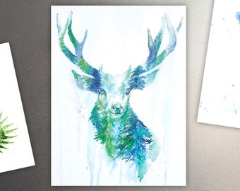 Oh Deer Art Refrigerator Magnet / Mountains & Forest  Spirit Animal - Watercolor Painting