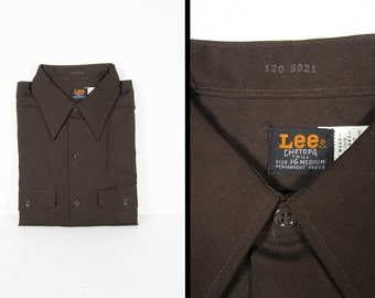 Vintage NOS Lee Chetopa Shirt Brown Twill Work Shirt Deadstock Made in USA - 16 Medium