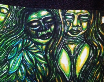 Green Goddesses In The Forest Gold And Green Version 8x10 in Print
