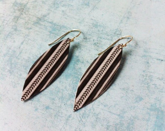 Boho Earrings - paper earrings - clip on earring -geometric boho chic earrings -dangle and drop -geometric pattern black and white - feather