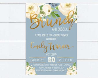 Brunch and Bubbly Bridal Shower Invitation Dusty Blue Wedding Shower Invitation Floral Bridal Shower Bridal Brunch Baby Shower Invitation