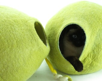 Cat bed, house, cave. Size XL. Natural felted sheep wool. Color birch green. Made by kivikis.