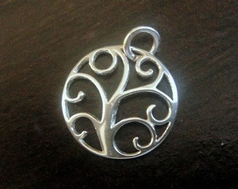 Sterling Silver TREE OF LIFE Charm, 925 Outline Charm Pendants, 1 Pc, 12mm