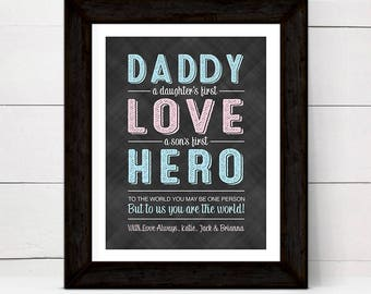 fathers day from daughter, son, kids, daddy hero print, a daughters first love a sons first hero, personalized gift for dad fathers day gift
