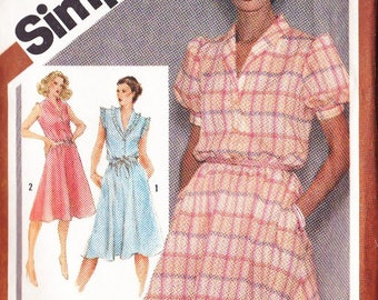 Misses Dress Pattern - Shawl Collar - Simplicity Pattern No 9867 Size 16 - Button Front ~ Flared Skirt ~ Side Pockets ~ Cut But Complete