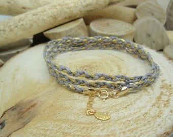 """Le bracelet """"Tressé"""" gris & doré"""