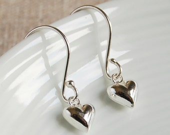 Tiny Silver Heart Drop Earrings ~ Wedding, Anniversary, Bridesmaid, Birthday Earrings