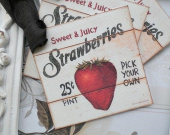 Strawberry Gift Tags (6) Food Tags-Food Labels-Strawberry Favor Tags-Treat Tags-Gift Wrap Tags-Jar Labels-Shabby Gift Tags-Berry Sweet Party