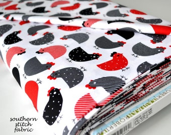 Chicken Fabric - Red Black  and  Gray Chickens - Urban Zoologie by Ann Kelle - Robert Kaufman. 100% cotton. AAK-14720-3