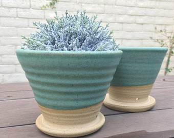 Rustic Planter, Pottery, Planter, Flower Pot, Succulent, Planter, Blue, Turquoise, Outdoor, Garden