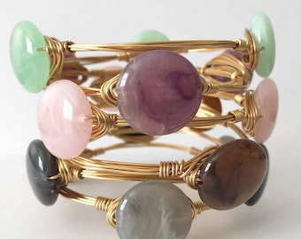 READY TO SHIP. Wire wrapped bangle. Wire wrapped jewelry | bracelets | stacked bangles | gold wire