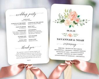 Peach Blush Floral Wedding Program Fan Template, Printable Fan Wedding Programs, DIY Wedding Fans, Editable text, Peach Blush