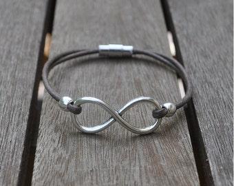 Infinity symbol bracelet and cotton lace