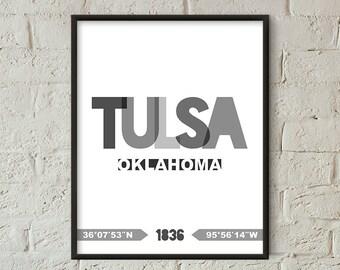 Tulsa Print, Tulsa Printable, Tulsa Poster, Tulsa Wall Art, Tulsa Coordinates, Tulsa Minimalist (W0252)