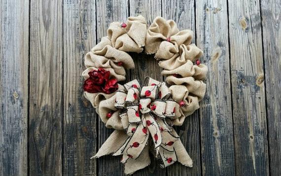 Burlap Wreath, Ladybug Burlap Wreath