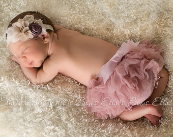 Vintage style Baby headband and Full Chiffon Ruffle Bloomer Set..Full chiffon Bloomers.Hair bow and Diaper Cover...