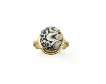 Snakeskin Agate Ring, Gold Ring, OOAK 14K ring, Statement Ring,
