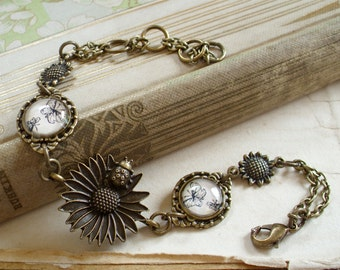 Butterfly Ladybug Sunflower and Daisy Bracelet - Cottage Chic - Daisy - Bridesmaids Gift