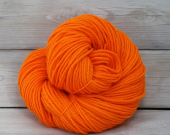 Supernova - Hand Dyed Superwash Merino Wool Worsted Aran Yarn - Colorway: Safety Orange