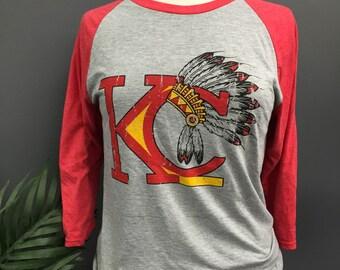 Unisex Kansas City Chiefs Vintage Headress 3/4 Shirt