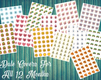Date Covers for All 12 Months-Monthly Date Covers-Compatible With Most Planners Including Erin Condren™Planner-Large Planner Compatible