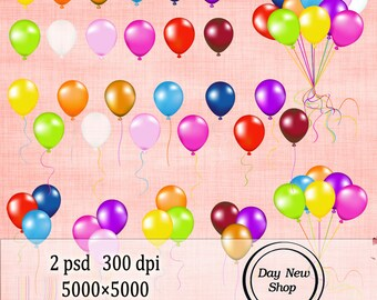 Balloons - clipart PSD - INSTANT DOWNLOAD