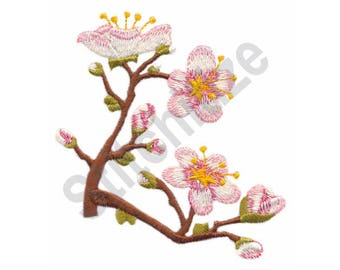 Flower Blossoms On Branches - Machine Embroidery Design, Asian Floral Design