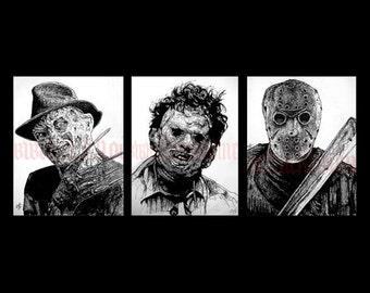 "Prints 11x14"" - Leatherface Jason Voorhees Freddy Krueger Horror Movie Vintage Slasher Gothic Scary Spooky Serial Killer Texas Chainsaw Pop"