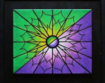 Painting: purple & green.