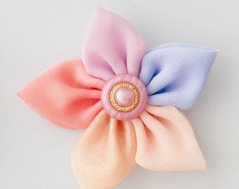 Kanzashi, Flower, Flower Maker, Small Flower, Pointed Petal, Flower Template, Scrapbook, Embellishment, Hair Accessories, Mixed Media, Sew
