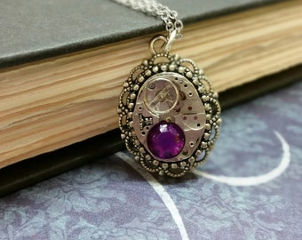 Steampunk Watch Gear Necklace with Purple Stone