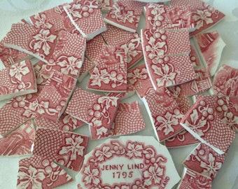 Broken China mosaic tiles~~Handcut Tiles~~~ViNTage BeAUTies~~Cranberry transferware