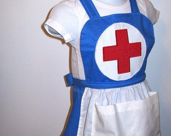 Girl's Nurse Costume - Apron and Hat - Blue Apron - Nurse Hat - Full Bib Apron - Pockets