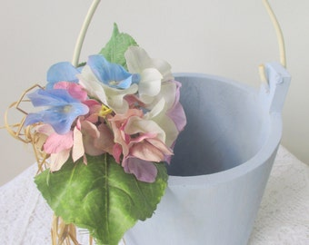 Robin Egg Blue Painted Wood Bucket with Hydrangea Arrangement And Raffia Bow Tied On