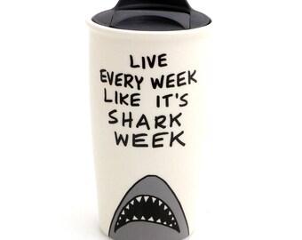 Father's Day gift, Shark week ceramic Eco travel mug, Geek Dad, Gift for him,  DL