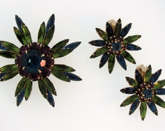 Vintage D&E JULIANA Starburst Brooch Pin, Clip Earrings Set Vibrant Green Purple Blue Rhinestones