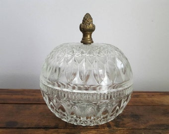 Lidded Glass Bowl With Brass Acorn Handle