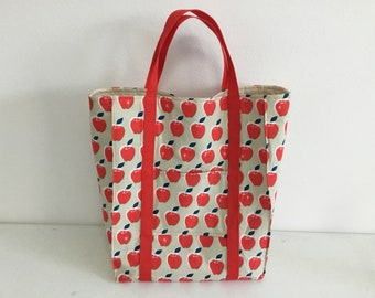 Large shopping bag with apple print