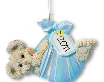 Personalized Baby's First Christmas Ornament Baby Bear Bundle- Boy Newborn, Baby Shower Gift Gift Tag