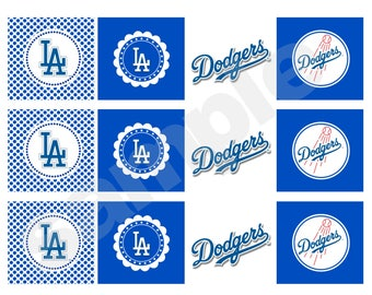 Printable Dodgers Party Tag Cupcake Topper