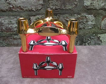 60s vintage Mid Century BMF gold-plated candle holder Nagel Quist era