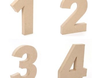 """Giant Paper Mache Numbers 12"""" High - Choose from 0 1 2 3 4 5 6 7 8 9 - These Cardboard Numbers are a full foot tall!"""